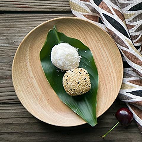 Japanese-style wooden dish/Wooden small round tray/ cake/ bone plate/ cake plate-E