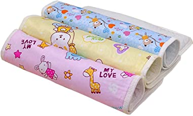 Goodluck Baby's Plastic and Cotton Foam Cushioned Baby Waterproof Sheets (0-6 Months, 60x45cm, Assorted) - Pack of 3