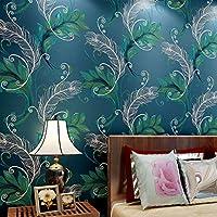 BTJC Cinese pavone piuma grande soggiorno sfondo sfondi 3D schiuma non tessuta camera da letto letto wallpaper , treasure blue