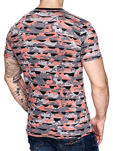 Herren Camouflage Polo Vintage Used T-Shirt Destroyed Look Zerrissen Ripped Rot