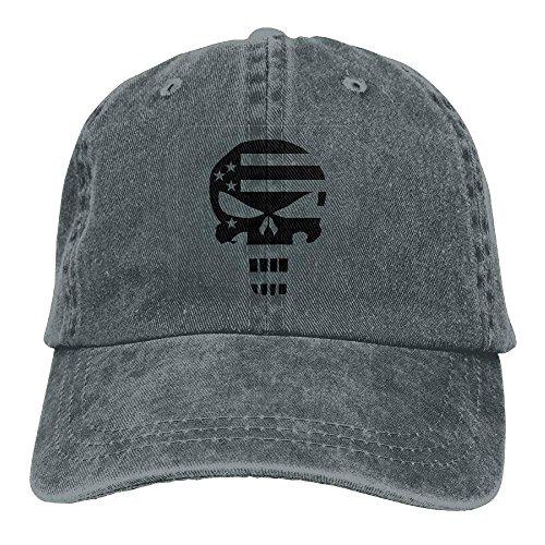 Aoliaoyudonggha Punisher American Flag Border Denim Hat Adjustable Mens Curved Baseball Hat -