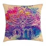 Abakuhaus Chakra Kissenbezug, Boho Lotusblume, 45 x 45 cm, Waschbar mit verstecktem Reißverschluss Kissenhülle mit Farbfesten Klaren Farben, Mehrfarbig