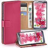 moex Samsung Galaxy Note 2 | Hülle Pink mit Karten-Fach 360° Book Klapp-Hülle Handytasche Kunst-Leder Handyhülle für Samsung Galaxy Note 2 Case Flip Cover Schutzhülle Tasche