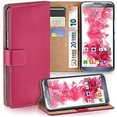Samsung Galaxy Note 2 Hülle Pink mit Karten-Fach [OneFlow 360° Book Klapp-Hülle] Handytasche Kunst-Leder Handyhülle für Samsung Galaxy Note 2 Case Flip Cover Schutzhülle Tasche