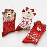 Set 3pezzi calze di Natale da donna cotone vite ragazza calzini per Natale regalo di Natale