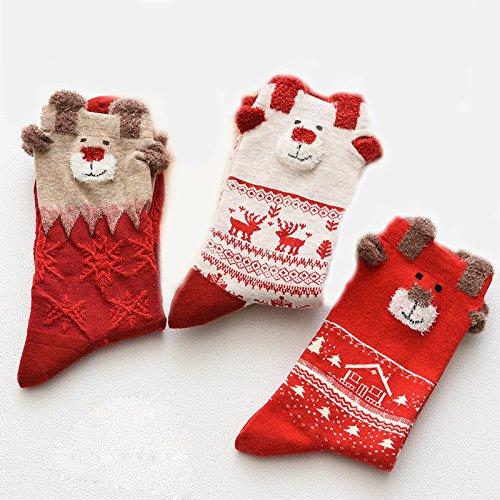 3pieza Medias de Navidad calcetines algodón Tornillo para mujer Chica Calcetines para Navidad Regalo de navidad Set