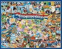White mountain puzzles États-Unis 1000 pièces. ce casse-tête tout américain dispose de grandes bouchées sur les Amériques passé sur une carte colorée des États. taille 24x30in. avertissement les petites pièces risque d'étouffement. pas pour les enfan...