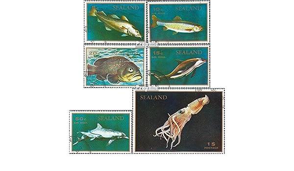Timbres pour les collectionneurs eau Animaux principaux points gb-principaut/é sealand /édition un micro-nation sur plate-forme marine pas reconnu 1970 Poisson