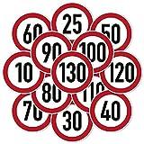 Verkehrszeichenaufkleber - Zulässige Höchstgeschwindigkeit Kfz Aufkleber Sticker (10 cm Ø, 50 km/h)