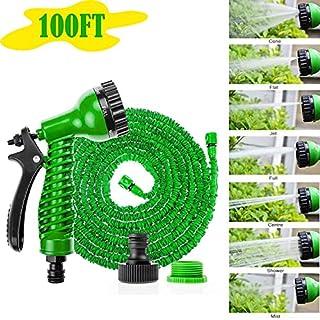 AutoFu Wasserschläuche, 30 m, erweiterbar, mit Sprühpistole, für Gartenwäsche, flexibel, leicht, einfache Lagerung und Transport, weicher Schlauch (30,5 m, grün)