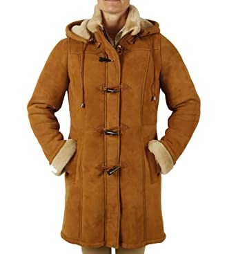 Ladies Suede Finish Sheepskin Duffle Coat: Amazon.co.uk: Clothing