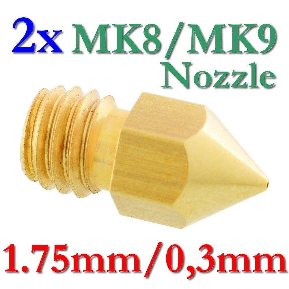 2x MK8MK9Précision Imprimante 3D Buse laiton 0,3mm