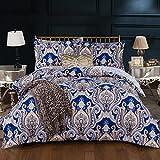 HTRPF Bettwäsche Polyester Streifen Palace Bettbezug * 1 und Kissenbezug * 2 (3 Stücke), B, 180Cmx220Cm