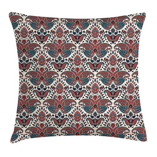 VANESSA Paisley Throw Pillow Cushion Cover, Oriental Damask Ethnic Design Persian Effects Feminine Aged Pattern, Decorative Square Accent Pillow Case, Mauve Dried Rose and Teal 20x20inches Cathay Rose