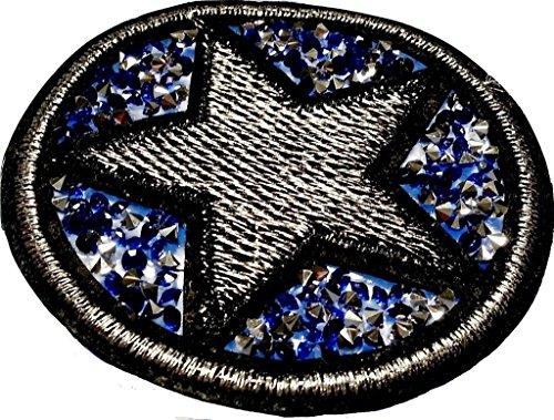 """Glitzer Strass Stern Aufnäher Stern Bügelbild Aufbügler Iron on Patches Applikationen mit Glitzer Strass Sterne zum aufbügeln """" Strass - Stern blau 7 cm """""""