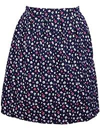 HDE Women's High Waisted A-Line Street Skirt Pleated Flared Full Midi Skirt