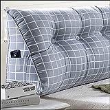 Cojines del sofá almohada de noche Triangular grande cama de apoyo para la cabeza de la almohadilla de doble cabezal tapizado del respaldo tatami apoyo para la cabeza lavable almohada almohada lumbar hogar Oficina
