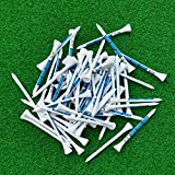 #5: Buyworld 50pcs 83MM White Wooden golf Ball Tees Blue Printing Golf Tee New
