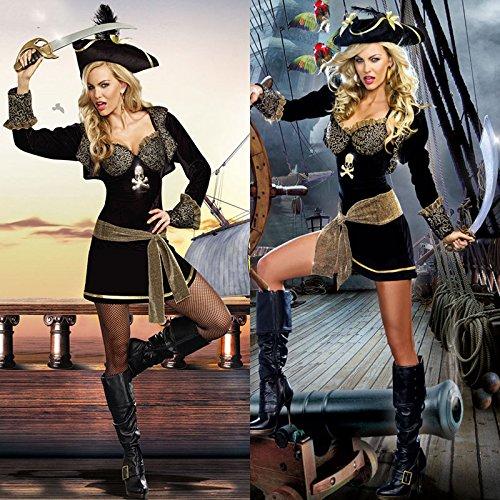 Gorgeous Halloween hochwertigen Luxus- schwarze Gold Augen Piratin Kostüm Kleid bar , # - Gold Und Schwarz Piratenkostüm