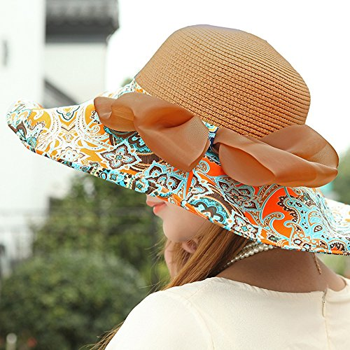 Chapeau de soleil d'été Mme été chapeau de soleil Anti-UV Pliable Grandes corniches Chapeau de plage chapeau de paille Pour les voyages de plage sortants ( Couleur : 1 ) 3