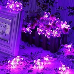 EiioX - Ghirlanda luminosa, 40 fiori con luci a LED, 4m, ideale per Natale, feste o matrimoni, colore: Viola