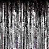 SUNBEAUTY Fotocall, Cortina Lista Franja Decoración de la Boda Fiesta Celabración Cumpleaños, 92 x 245 cm, Plata