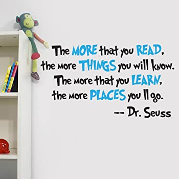 V&C Designs Ltd (TM The More You Read Quote Children's Room Kids Room Playroom Nursery Wall Sticker Wall Art Vinyl Wall Decal Wall Mural for Reading Corner/Classroom