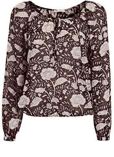 oodji Collection Damen Druckbluse mit Bindebändern Schwarz (2933F)