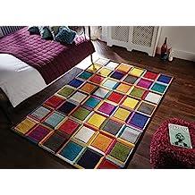Spectrum - Alfombra / Tapete con diseño moderno y abstracto - Multicolor Waltz 120 x 170cm