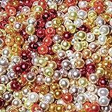 Kailusee 1000 Piezas 4mm Perlas Abalorios de Vidrio Redondos Cuentas de Perlas de Imitación de para Manualidades y Fabricación de Bisutería, 10 Colores, Imitaciones de Perlas
