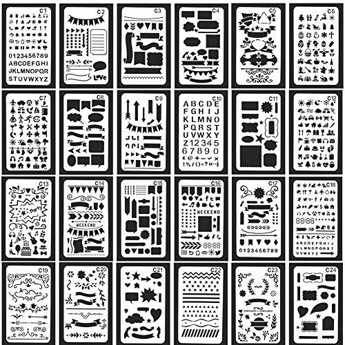 Zeichenschablonen Surenhap Zeichen Schablonen, 24 Stück Grafiken Schablonen bullet journal Scrapbooking Malen Multifunktionale verzieren/verschönern eines Fotoalbum DIY Design -