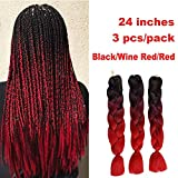 Showjarlly 3 pièces 2 tons ombré tressage Cheveux Crochet tresses Extensions de cheveux synthétiques 61 cm