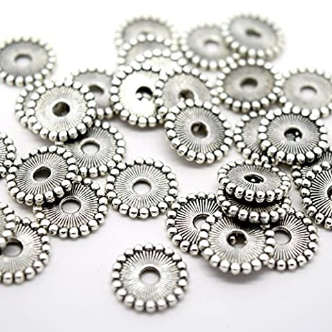 50 X ROUND FLAT DISC ALLOY ANTIQUE SILVER PLATED BEADS 11MM