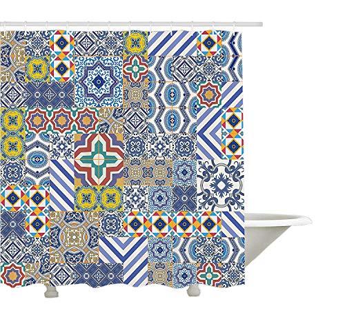 yeuss Marokkanische Decor Kollektion, marokkanischem Mosaik Classic Fliesen inspiriert Patchwork Stil Muster Polyester-Artwork Print,-Badezimmer Dusche Vorhang, Set Haken, 72