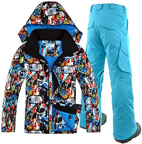 SSXZ Outdoor Leisure Sport Maschile Tuta da Sci Impermeabile Antivento Giacca da Sci Invernale + Pantaloni da Sci Tuta da Snowboard Uomo Doppia tavola S