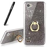 Slynmax Coque LG Q6 Porte Bague, LG Q6 Case Paillette Strass Brillante Bling Bling Glitter de Béquille Bague de Bague de Ultra Mince Coque,Bumper Etui de [Anti Choc] pour LG Q6 (Série Glamour,Noir)