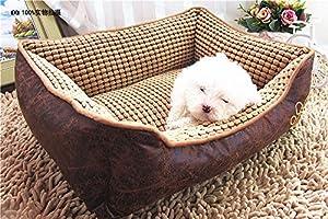 Panier imper chien Chenil déhoussable et lavable Coussin chaud pour chien chat (brun; 50*40*20cm)