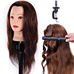 "Hair Head HAIREALM 100% Real Human Hair 24"" Mannequin Head Cosmetology Hairdressing Head Hair Style Training Head Manikin Dolls Head with Clamp (Can be Bleached and Permed)EHA418P"