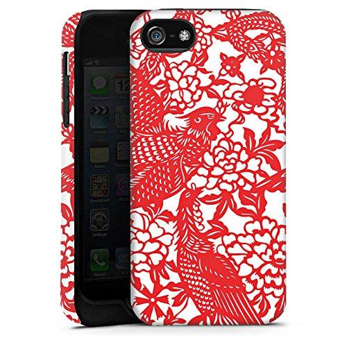 Apple iPhone 4 Housse Étui Silicone Coque Protection Oiseaux Ornements Fleurs Cas Tough terne