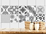 GRAZDesign 770349_15x15_FS40st Fliesenaufkleber Mandala | Fliesen Zum überkleben im Bad und Küche | Schwarz-Weiß Mosaik | Wandfliesen-Aufkleber Selbstklebend (15x15cm//Set 40 Stück)