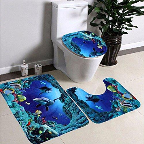 Kicode 3 Stück Flanell nicht gleiten Sea World Badezimmermatten-Sets Badematte + Sockelmatte + Toilettensitzbezug Mat