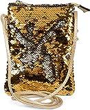 styleBREAKER Mini Bag Umhängetasche mit Wende-Pailletten, Schultertasche, Handtasche, Tasche, Damen 02012240, Farbe:Gold / Silber