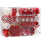 Sea Team 82 Stück sortierte bruchsichere Weihnachtskugel-Ornamente Set saisonal dekorative Hängeornamente Set mit wiederverwendbaren Hand-Geschenkpackung für den Urlaub Weihnachtsbaum, Rot & Weiß