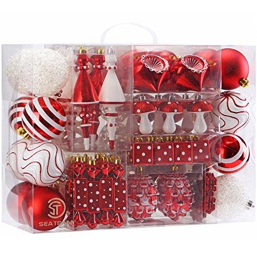 Sea Team Stück sortierte bruchsichere Weihnachtskugel-Ornamente Set saisonal dekorative Hängeornamente Set mit wiederverwendbaren Hand-Geschenkpackung für den Urlaub Weihnachtsbaum, Gold & weiß