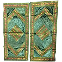 Mogul Interior Ethnic Rectangle Pillowcase Vintage Silk Sari Cushions Floor Pillows Cover 30X20 (Green-2)