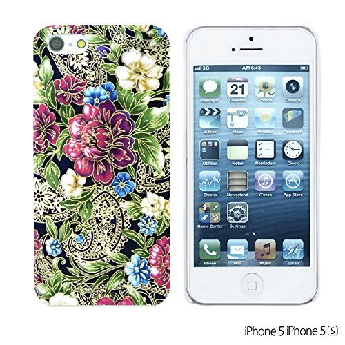 OBiDi - Flower Pattern Hardback Case / Housse pour Apple iPhone SE / Apple iPhone 5S / 5 - Multicolor Floral Shapes Purple Paisley Floral Pattern