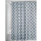 iDesign Trellis Textil Duschvorhang | Duschabtrennung für Badewanne und Duschwanne mit Spalier-Motiv | 180 cm x 200 cm Vorhang aus Stoff | Polyester blau