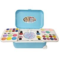 Plutofit® Beauty Set Cosmetic and Real Makeup Palette with Mirror and Trolley for Kid's (Blue)