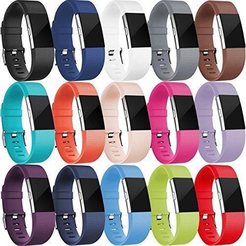 HUMENN Per Fitbit Charge 2 Cinturino, Edizione Speciale Morbido Sportivo di Ricambio in TPE Accessori per Fitbit Charge 2 Braccialetto Piccolo #A 15-Pack