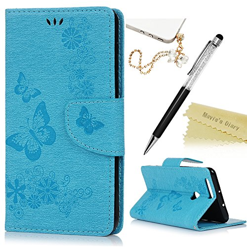 Price comparison product image Mavis's Diary Honor 8 Cover ,Huawei Honor 8 Case - Book Wallet PU Leather Magnetic Closure Flip Case [Big Butterfly & Flower Embossed] Cover with Card Slots & Stand & Wrist Strap with One Dust Plug & One Stylus Pen for Huawei Honor 8 - Blue